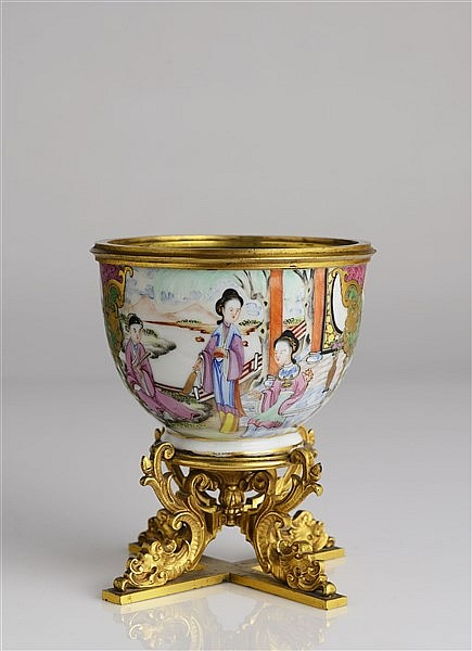 A SMALL ORMOLU-MOUNTED FAMILLE ROSE BOWL