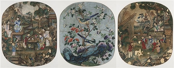 UNKNOWN ARTIST THREE EXPORT PAINTINGS