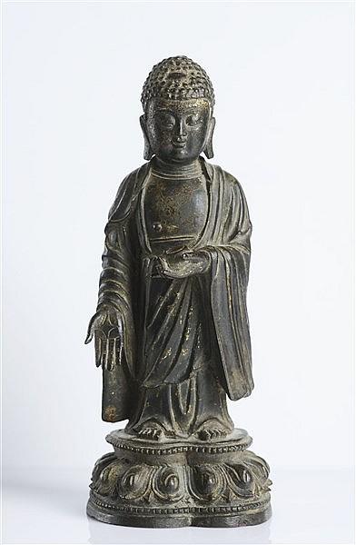 A BRONZE FIGURE OF MEDICINE BUDDHA