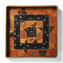 A MARQUETRY DECORATIVE TRAY