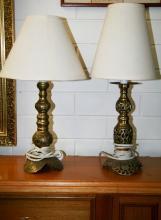 2x Brass lamps