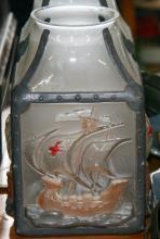 Vintage light shade Galleon motif