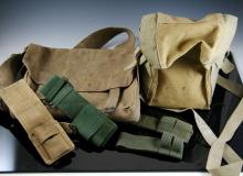 1943 Light pouch with wound dressings + WWI Army satchel date 1916