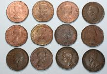 12x Australian Half Penny coins with bites and strike errors
