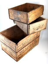 Selection of wooden boxes including shotgun and horse shoe