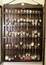 Souvenir spoon cabinet and contents