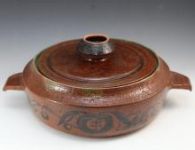 Australian pottery casserole dish by Dybka - Small flea bites to rim