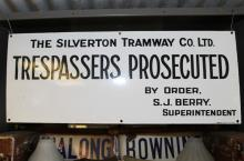 Enamel Silverton Tramway Trespassers Prosecuted Sign - as new condition