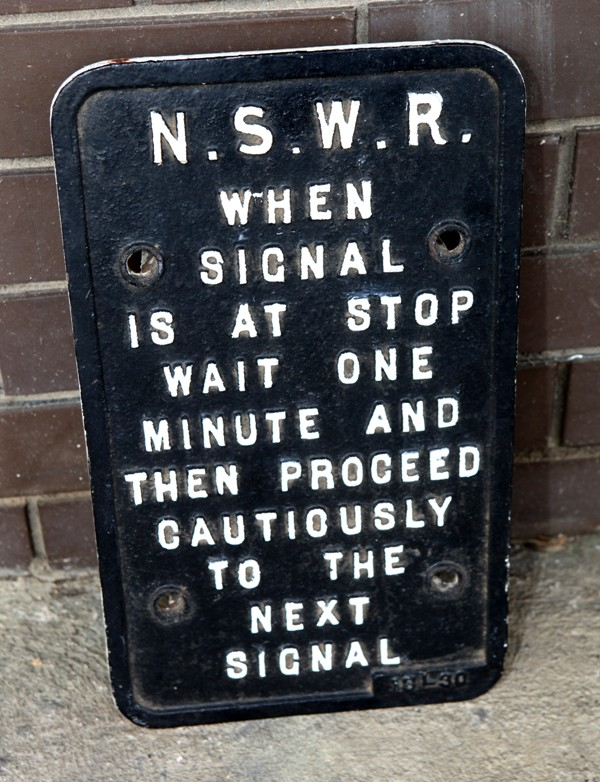 Signal post warning sign - cast iron NSWR c1920s