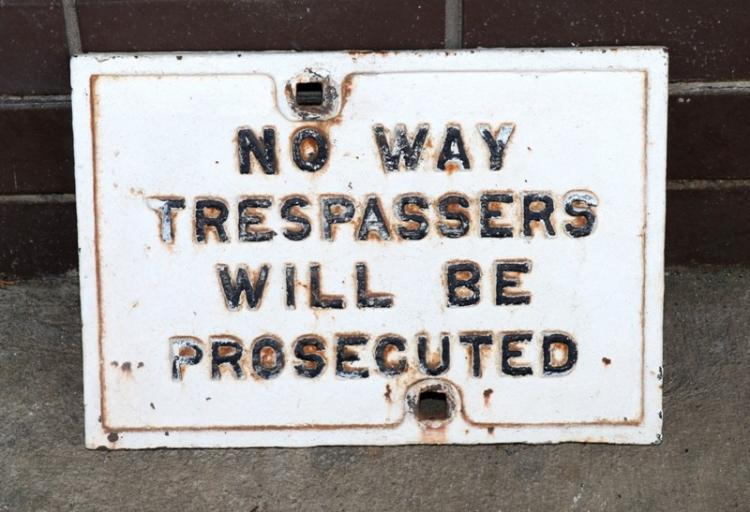 Cast iron No Way trespassers sign