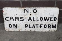 Cast iron No Way trespassers sign - no cars allowed marked on rear