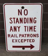 NoStanding Rail Patrons Excepted enamel sign