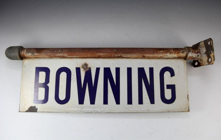 Bowning station enamel lamp post sign
