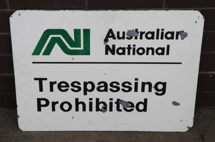 Australian National trespassing sign