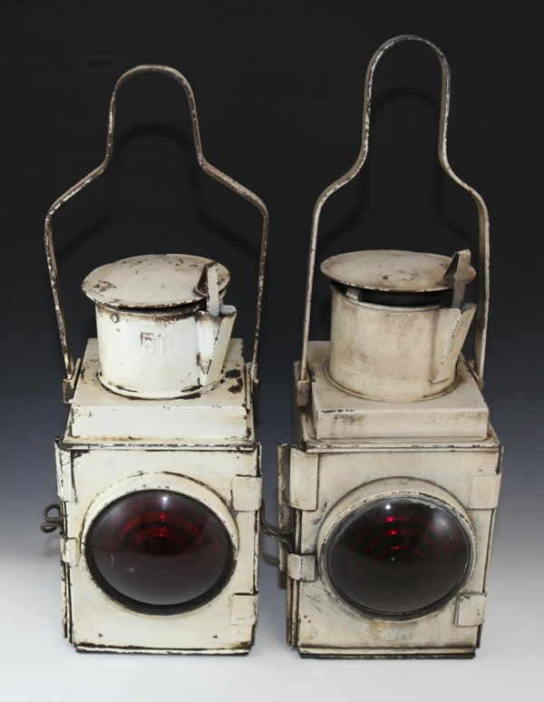 2x white British Rail railway lamps
