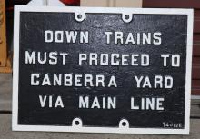 Canberra Yard Down Train cast iron sign - one off
