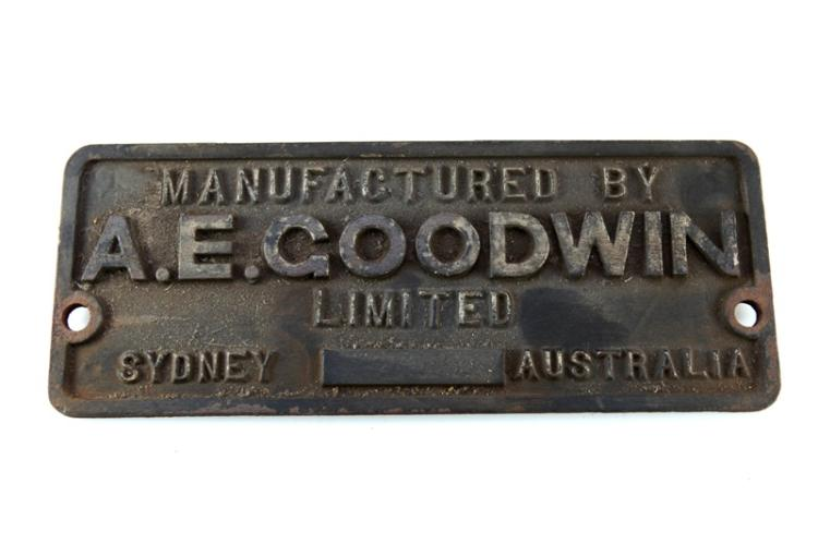 A.E. Goodwin Sydney carriage builders plate