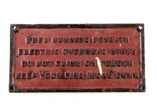 Cast iron Tender Steam Engine Sign - Keep Your Fire Irons Down