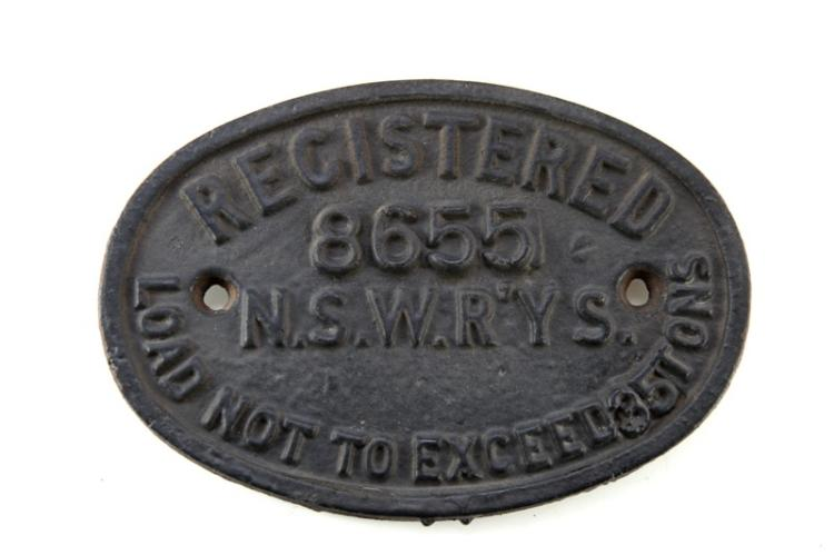 NSW Railways wagon plate