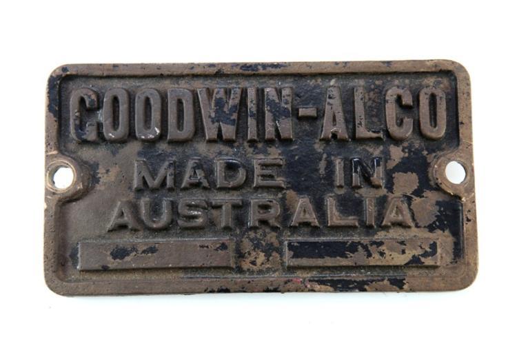 Brass Goodwin-Alco made in Australia bogie plate