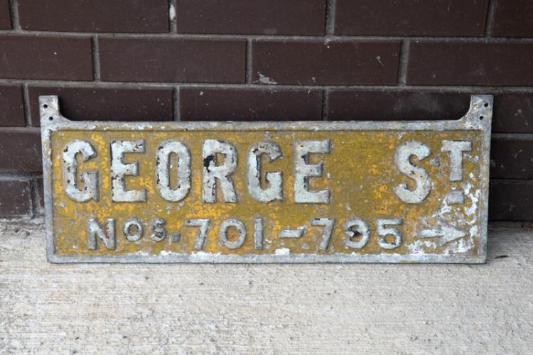 Cast alloy sign George Street Sydney from Town Hall underground station