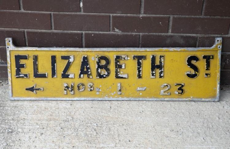 Cast alloy sign Elizabeth street Sydney Museum underground station