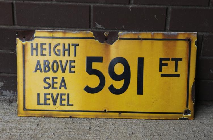 Enamel NSW railway station height above sea level sign