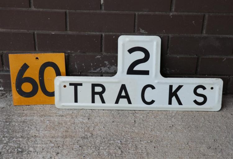 2x NSWG railway signs 60kph and 2 tracks