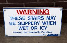 Cityrail warning sign - slippery stairs