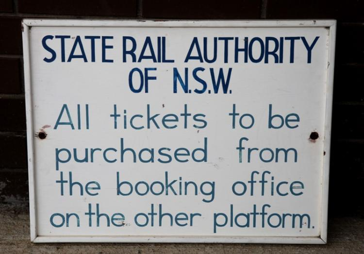 Wooden State Rail Authority All Tickets sign