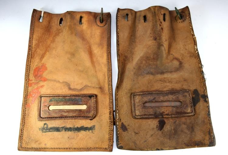2x leather railway cash bags