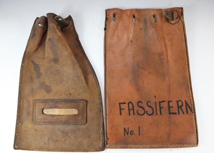2x leather railway cash bags - 1 marked Fassifern