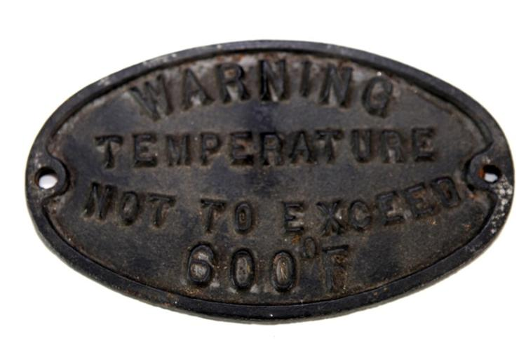 Boiler warning plate cast iron