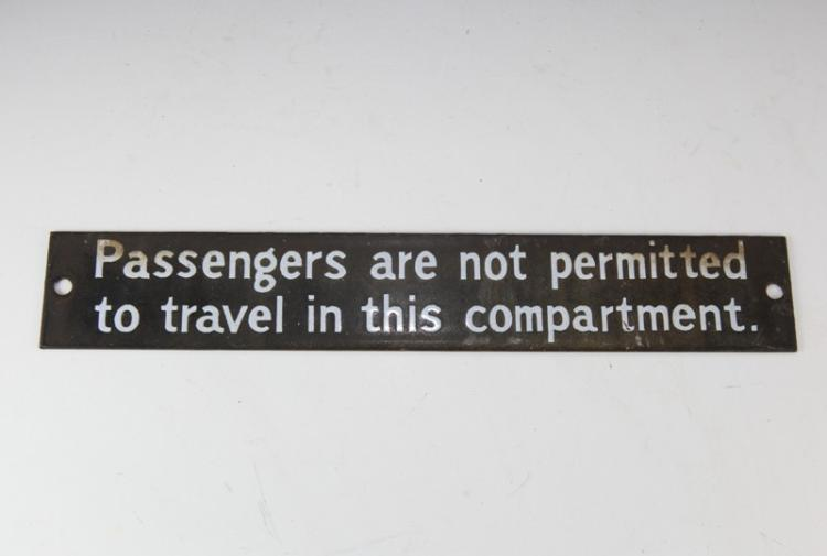 Enamel Railway passengers not permitted sign