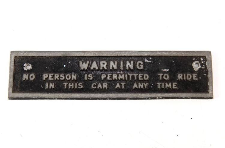 Warning cast alloy sign - possibly guards van