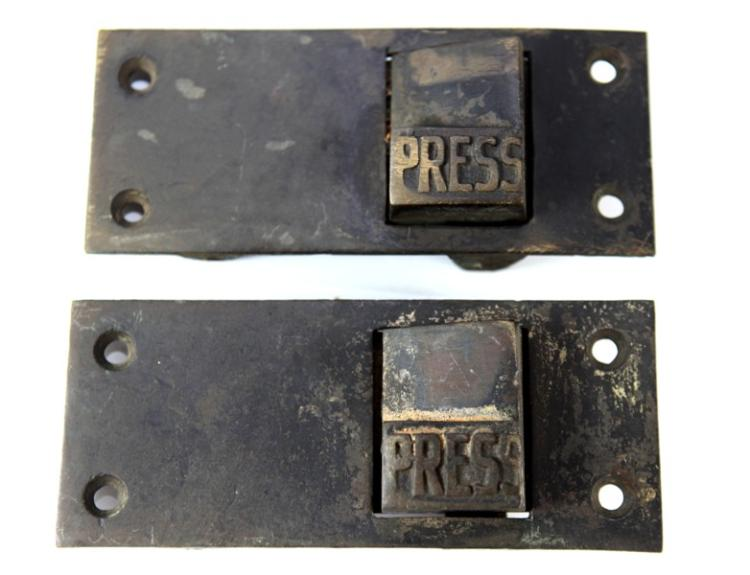 Railway carriage door press plates brass - two matching