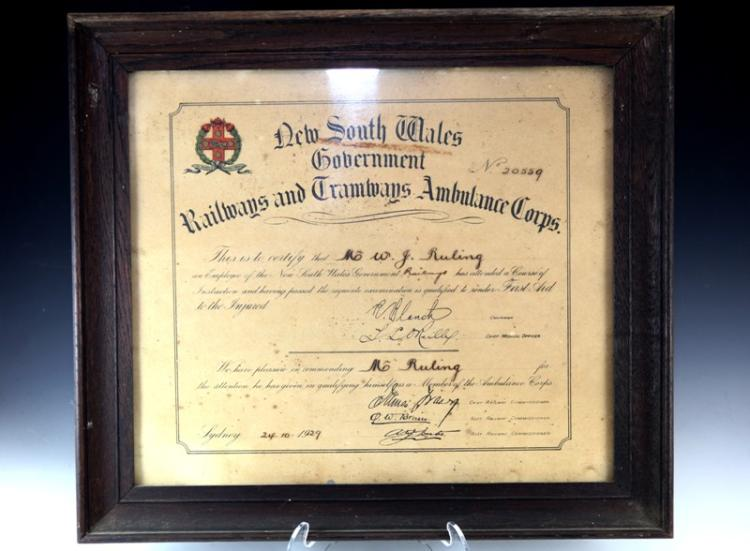 NSWR and Tramways Ambulance Corps certificate 1929