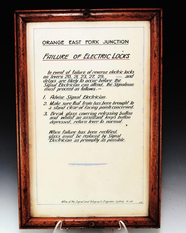 NSWGR Orange East Fork Junction signal box notice 1961
