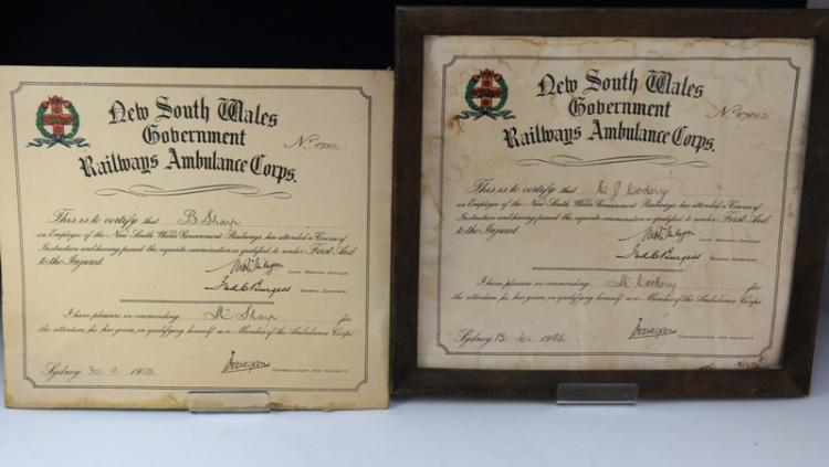 2x framed cert NSWGR Ambulance Corps - 1 unframed c1948