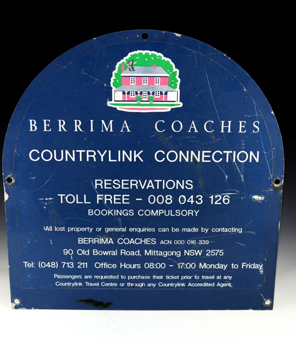 Berrima Coaches tin sign