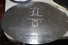 NSWR Coat of Arms plate from diesel engine