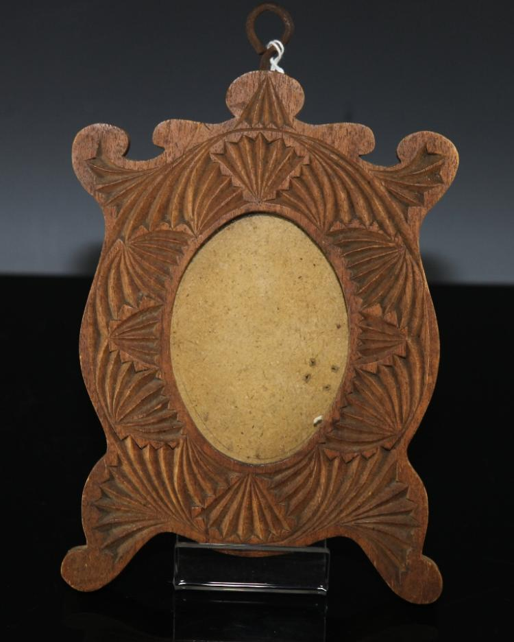 Art nouveau style chip carved australian oval picture frame
