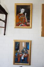 A pair of reverse painted Chinese pictures