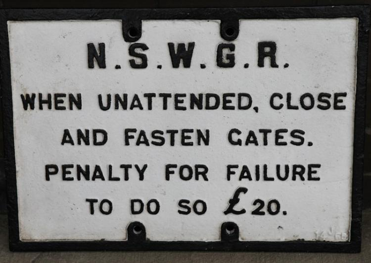 Cast iron NSWGR When Unattended Close and Fasten Gates £20 penalty sign