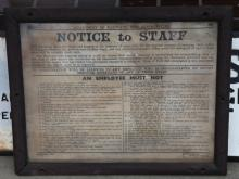Department of Railways NSW notice to staff fabric sign ex broadmedow roundhouse steam engine depot NSW 1946