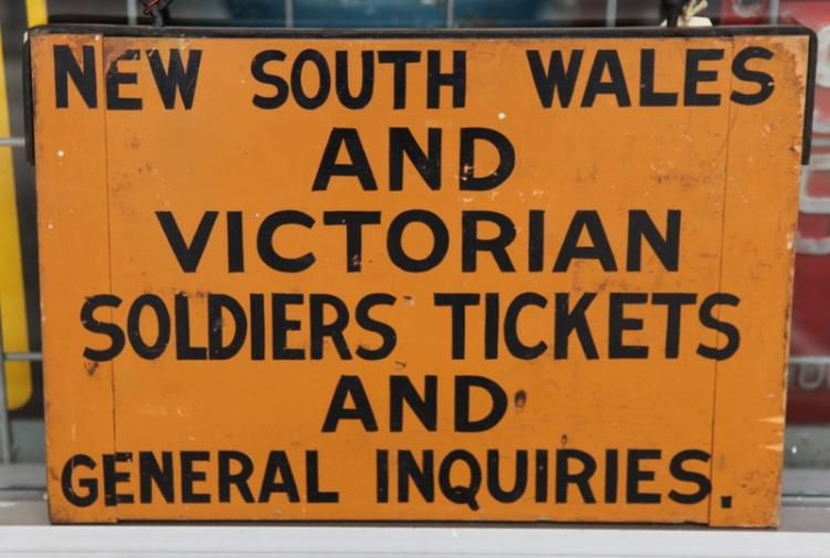 Wooden NSW and Victorian soldiers ticket sign ex Albury station WWII