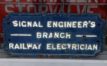 Signals Engineers Branch Railway Electrician blue cast iron sign