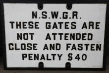Cast iron NSWGR These gates are not attended sign