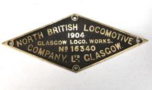 Builders plate North British locomotive 1904 (D50 Class 5090 which was used on the weight deflection test on Sydney harbour bridge 1932)