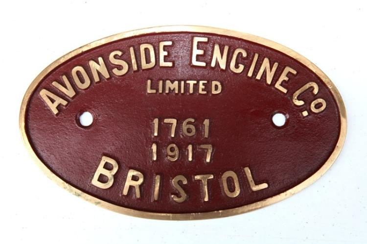 Avonside engine co  Bristol #1761 built in 1917 builders plate (sugar cane train owner by Fairley sugar mill QLD for 2ft gauge system, scrapped in 1969)